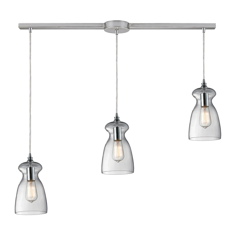 Westmore Lighting Alvingham 6-in Polished Chrome and Clear Glass Vintage Mini Clear Glass Pendant