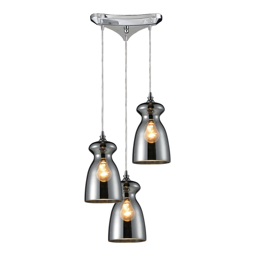 Westmore Lighting Alvingham 10-in Polished Chrome and Mercury Blown Glass Mini Tinted Glass Pendant