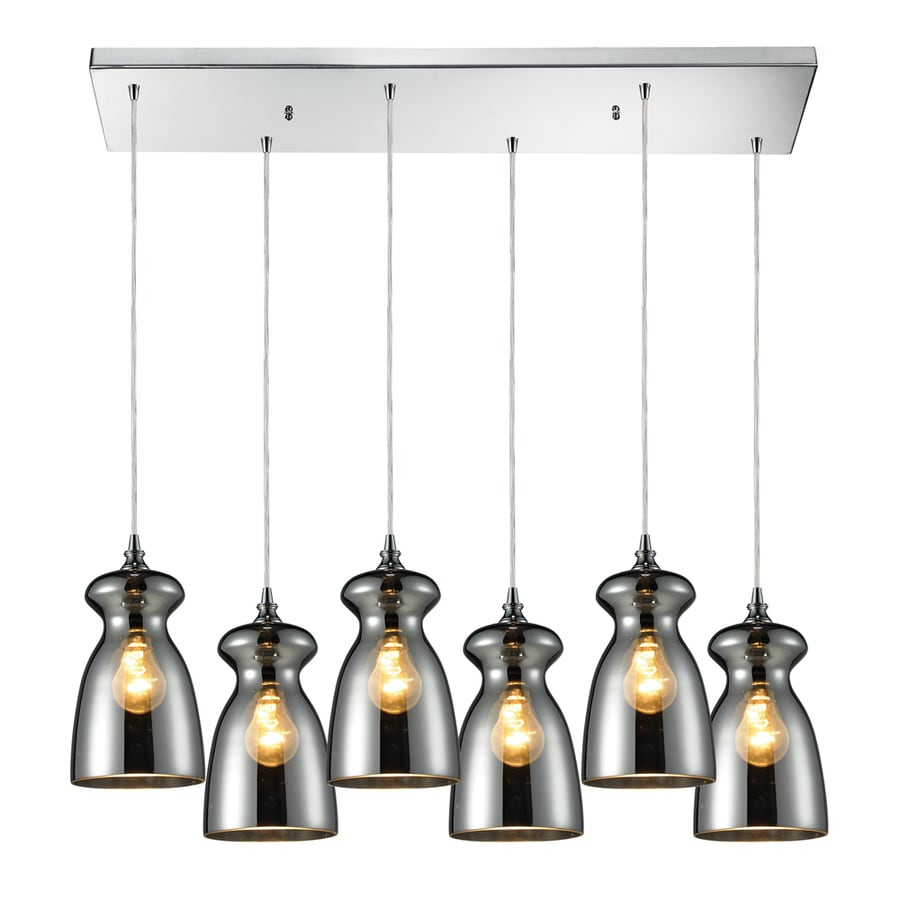 Westmore Lighting Alvingham 30-in Polished Chrome and Mercury Blown Glass Mini Tinted Glass Pendant