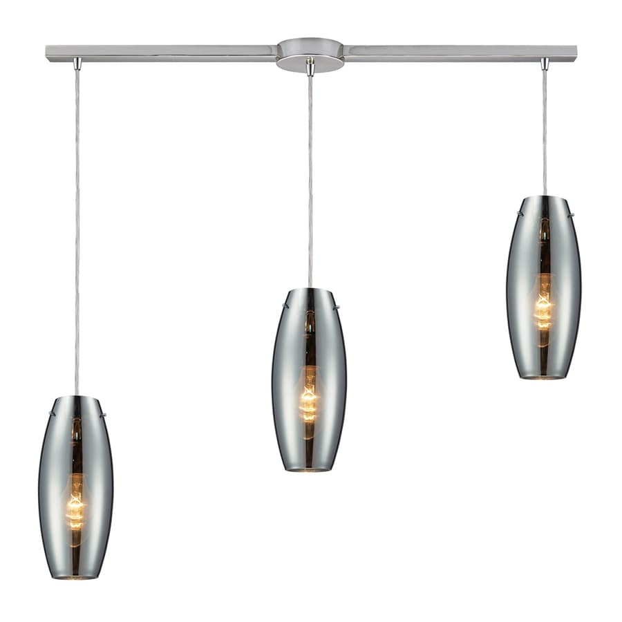 Westmore Lighting Alvingham 5-in Polished Chrome and Mercury Blown Glass Mini Tinted Glass Oval Pendant