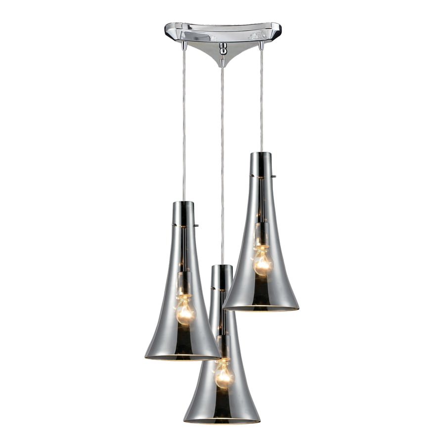 Westmore Lighting Alvingham 8-in Polished Chrome and Mercury Blown Glass Mini Tinted Glass Pendant
