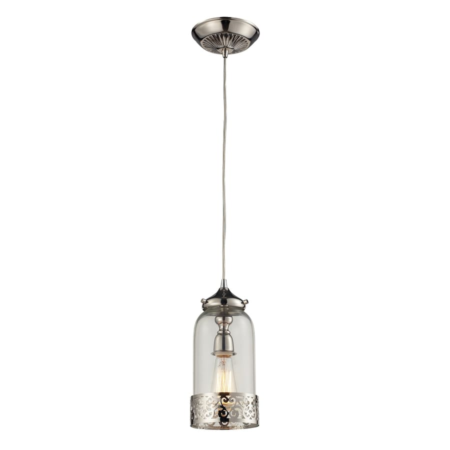 Westmore Lighting Staughton 7-in Polished Nickel and Clear Glass Mini Clear Glass Pendant