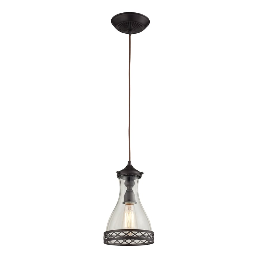 Westmore Lighting Staughton 7-in Oiled Bronze and Clear Glass Mini Clear Glass Pendant