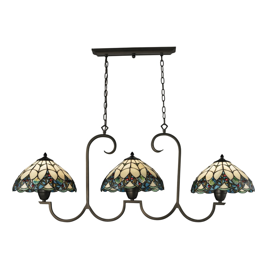 Westmore Lighting Creswell 51-in W 3-Light Tiffany Bronze and Tiffany Glass Tiffany-Style Kitchen Island Light with Tiffany-Style Shade