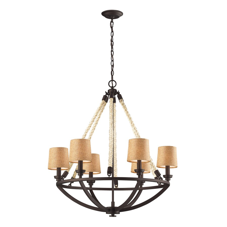 Westmore Lighting Litherland 30-in 6-Light Aged Bronze Rustic Shaded Chandelier