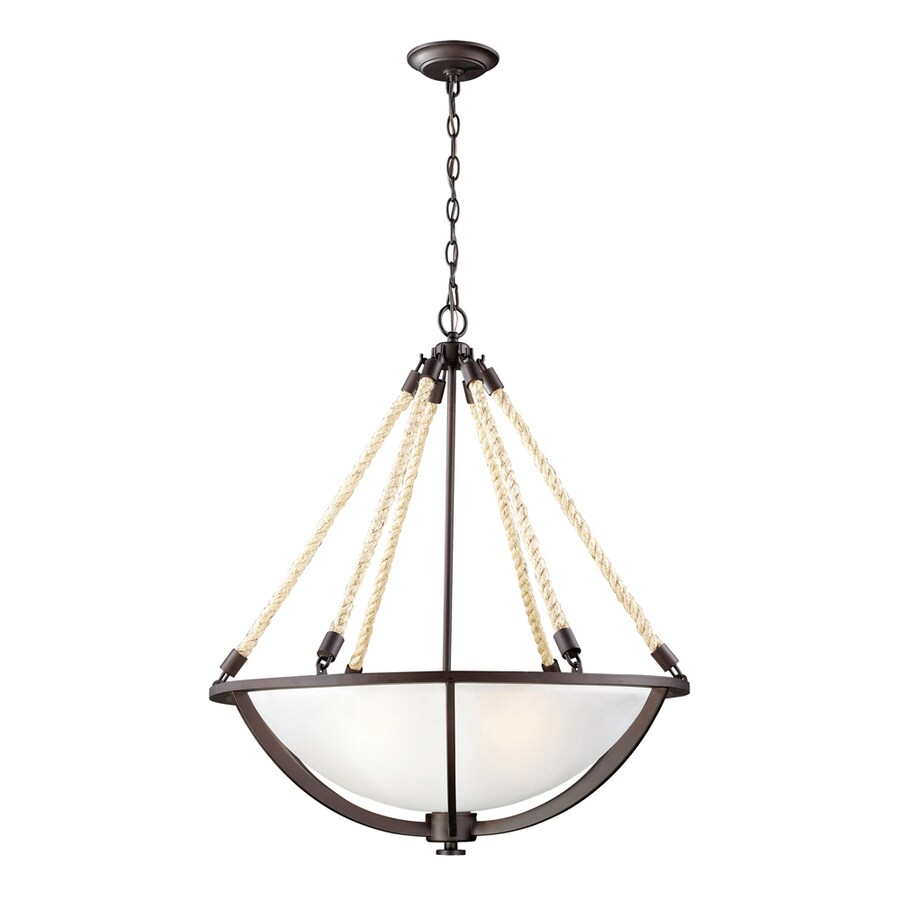 Westmore Lighting Litherland 26-in Aged Bronze Rustic Single Bowl Pendant