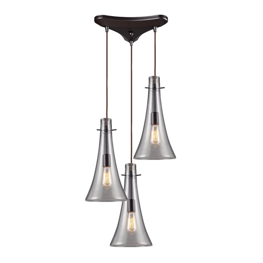 Westmore Lighting Alvingham 8-in Oiled Bronze Mini Clear Glass Pendant