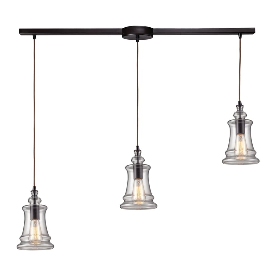 Westmore Lighting Alvingham 36-in Oiled Bronze Mini Clear Glass Pendant