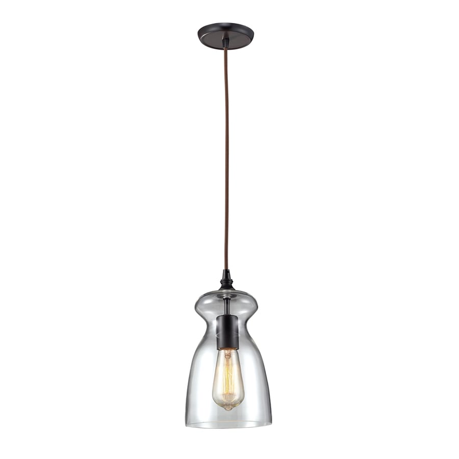 Westmore Lighting Alvingham 6-in Oiled Bronze Mini Clear Glass Pendant