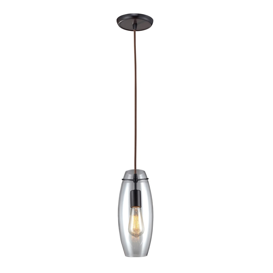 Westmore Lighting Alvingham 5-in Oiled Bronze Mini Clear Glass Oval Pendant