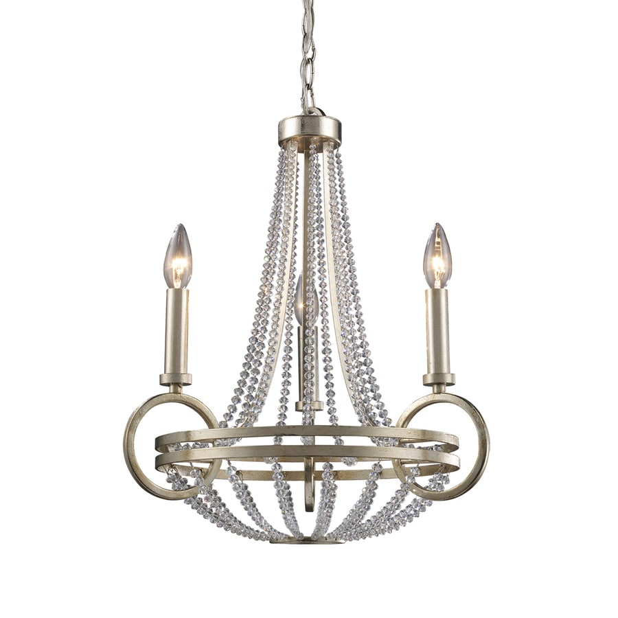 Westmore Lighting Corby 18-in 3-Light Vintage Silver Leaf Crystal Candle Chandelier