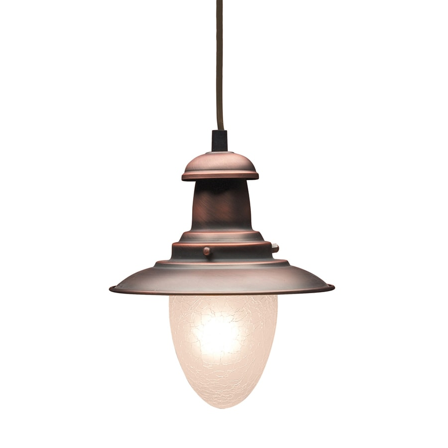 Westmore Lighting Crossens Park 7-in Antique Copper Rustic Mini Textured Glass Bell Pendant