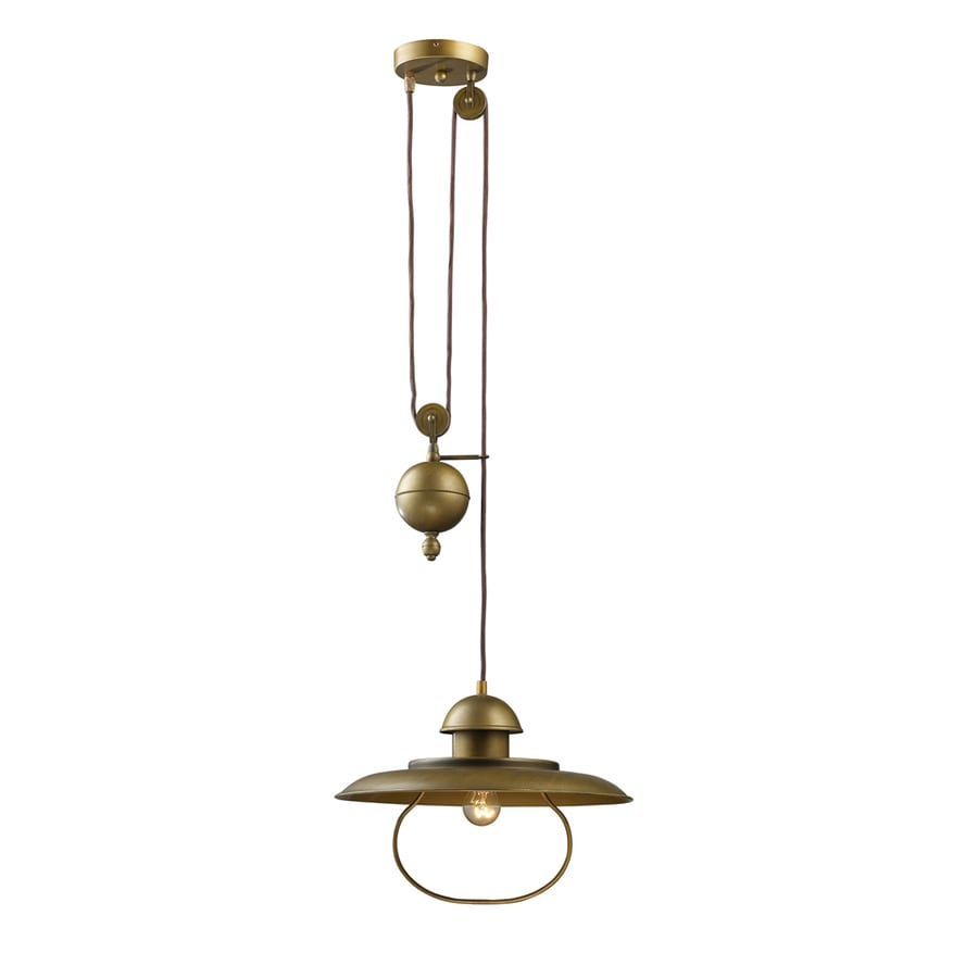 Westmore Lighting Crossens Park 12-in Antique Brass Rustic Single Bell Pendant