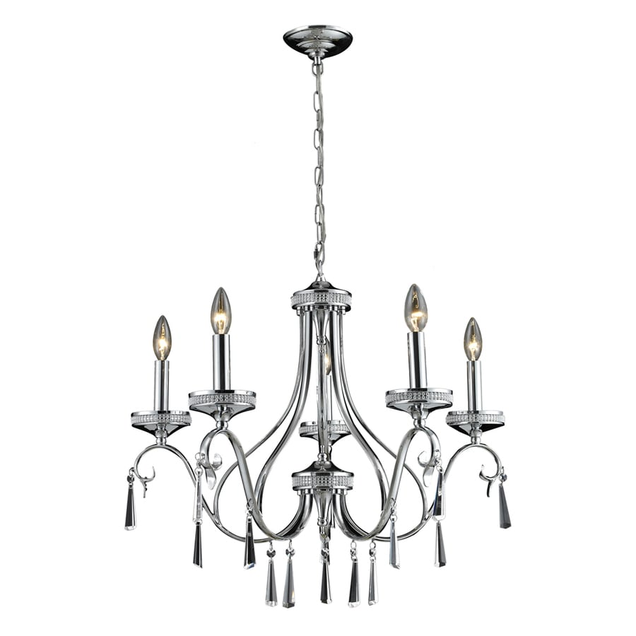 Westmore Lighting Cherbury 26-in 5-Light Polished Chrome Candle Chandelier