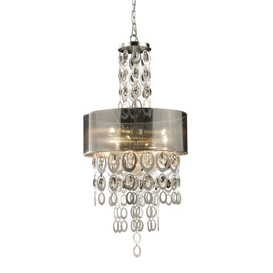 Westmore Lighting Saprierre 26-in Silver Leaf Single Tinted Glass Drum Pendant