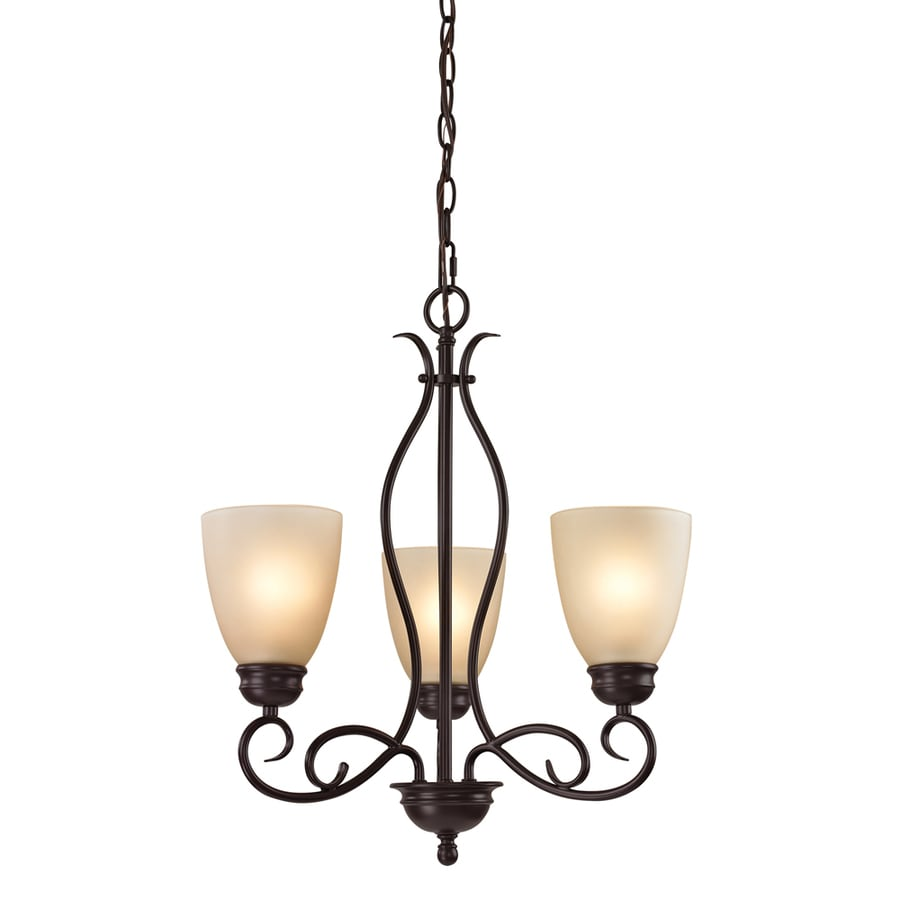 Westmore Lighting Sunbury 20-in 3-Light Oil Rubbed Bronze Tinted Glass Shaded Chandelier