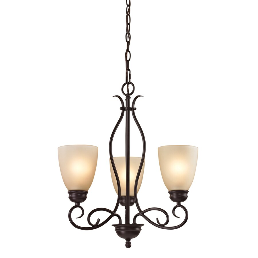 Westmore Lighting Sunbury 20-in 4-Light Oil Rubbed Bronze Tinted Glass Shaded Chandelier
