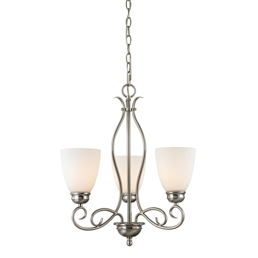 Westmore Lighting Sunbury 20-in 3-Light Brushed Nickel Tinted Glass Shaded Chandelier