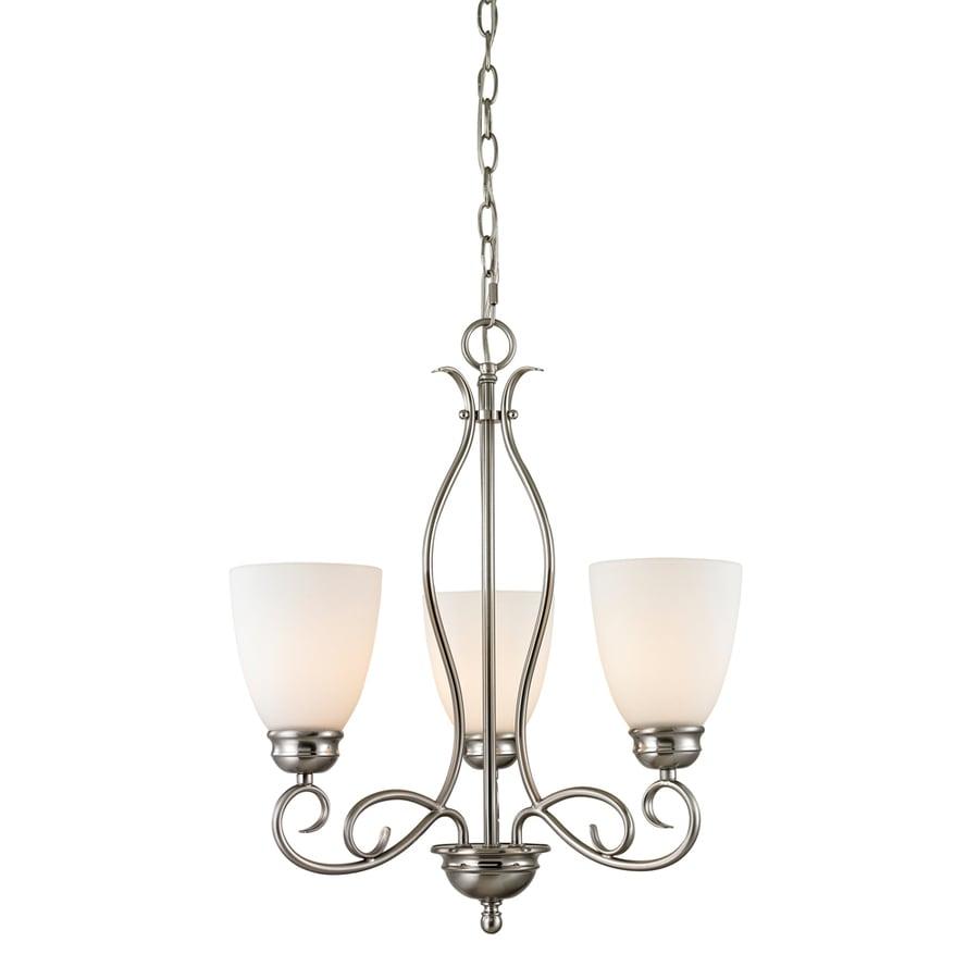Westmore Lighting Sunbury 20-in 3-Light Brushed nickel Tinted Glass Shaded Chandelier