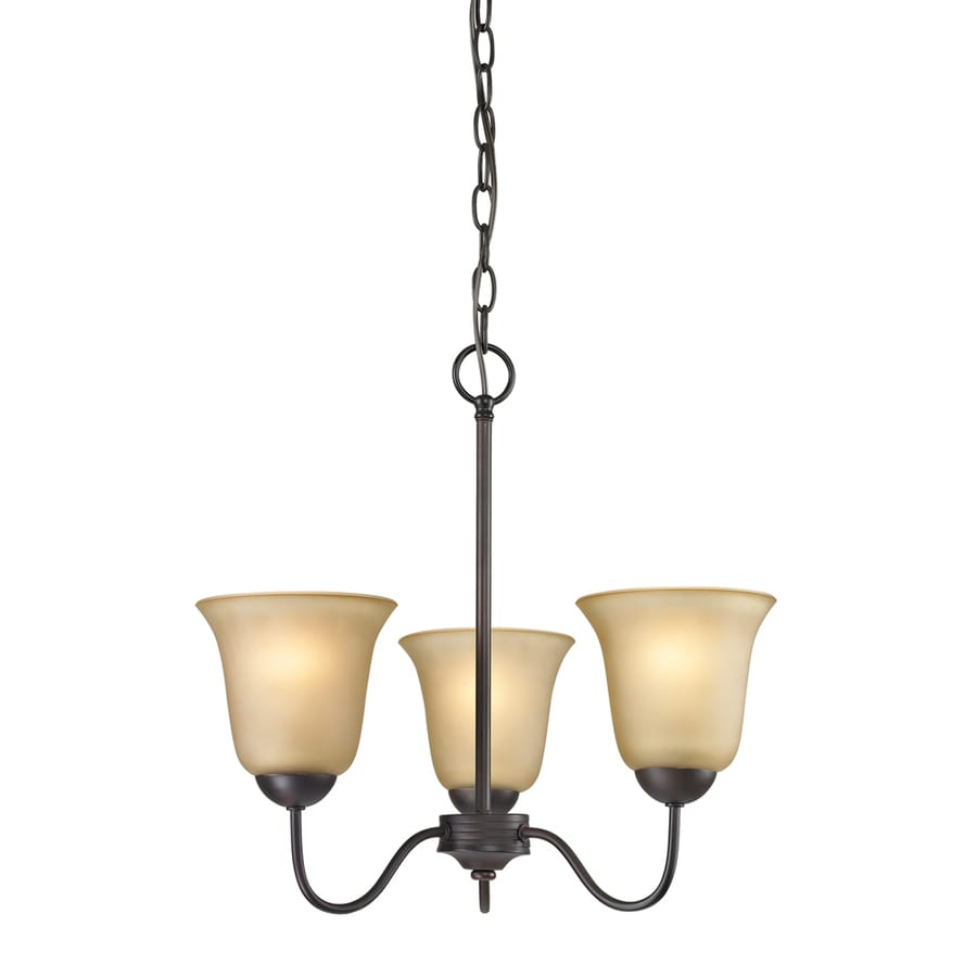 Westmore Lighting Ashland 20-in 3-Light Oil Rubbed Bronze Tinted Glass Shaded Chandelier