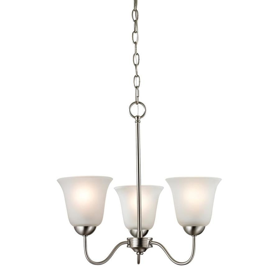 Westmore Lighting Ashland 20-in 3-Light Brushed Nickel Tinted Glass Shaded Chandelier