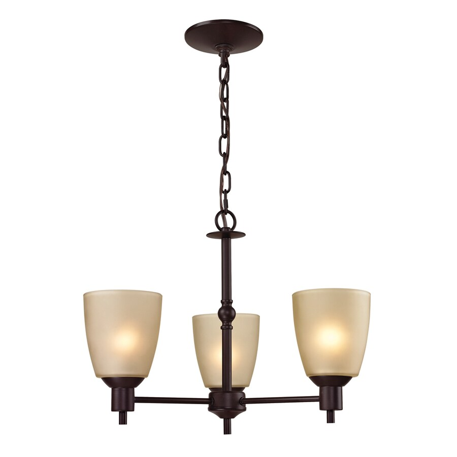 Westmore Lighting Fillmore 20-in 3-Light Oil Rubbed Bronze Tinted Glass Shaded Chandelier