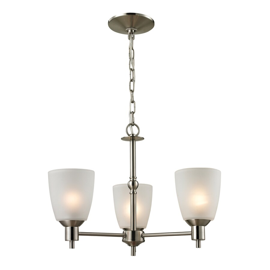 Westmore Lighting Fillmore 20-in 3-Light Brushed Nickel Tinted Glass Shaded Chandelier