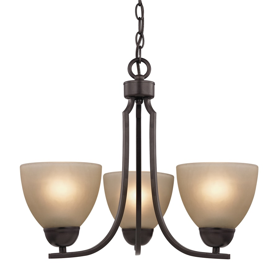 Westmore Lighting Rutherford 20-in 3-Light Oil Rubbed Bronze Tinted Glass Shaded Chandelier
