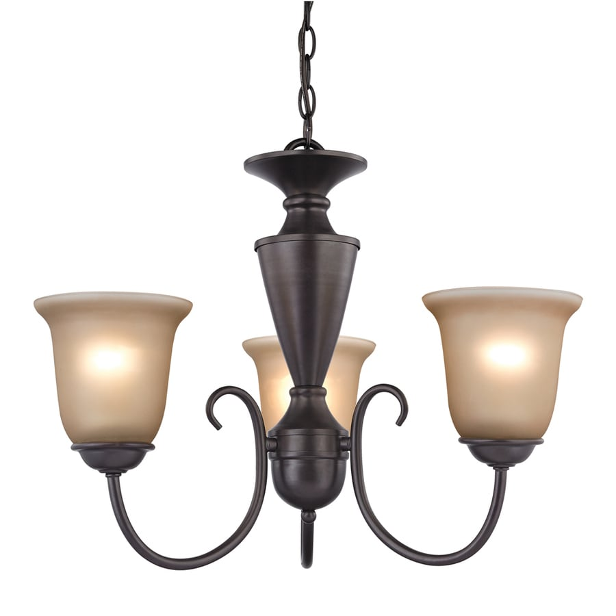 Westmore Lighting Bellwood 23-in 3-Light Oil Rubbed Bronze Tinted Glass Candle Chandelier