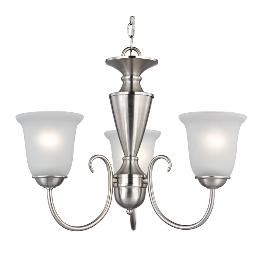 Westmore Lighting Bellwood 23-in 3-Light Brushed Nickel Tinted Glass Shaded Chandelier