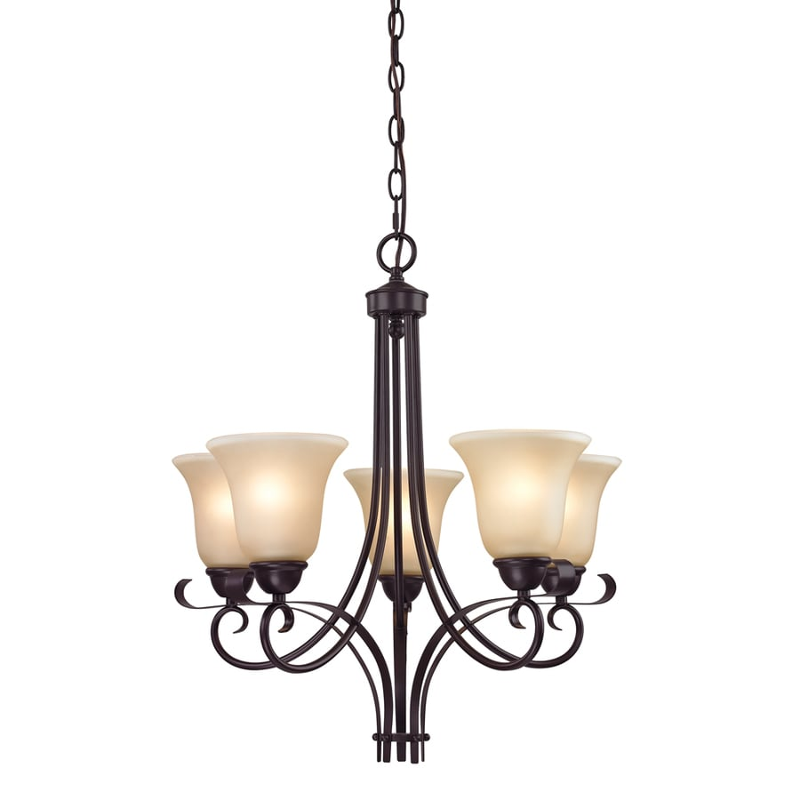 Westmore Lighting Colchester 22-in 5-Light Oil rubbed bronze Tinted Glass Shaded Chandelier