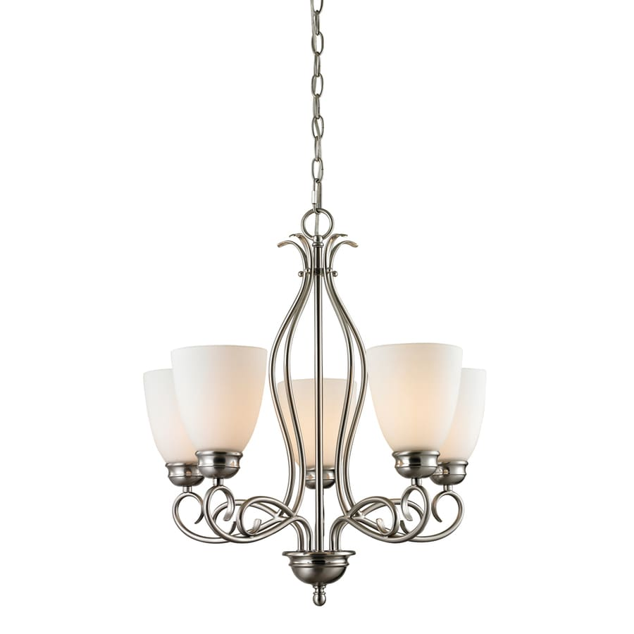Westmore Lighting Sunbury 22-in 5-Light Brushed Nickel Tinted Glass Shaded Chandelier