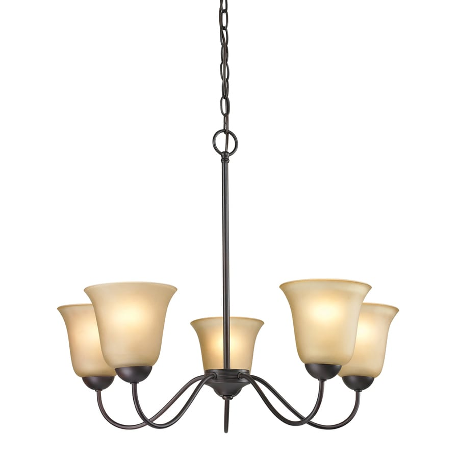 Westmore Lighting Ashland 22-in 5-Light Oil Rubbed Bronze Tinted Glass Shaded Chandelier