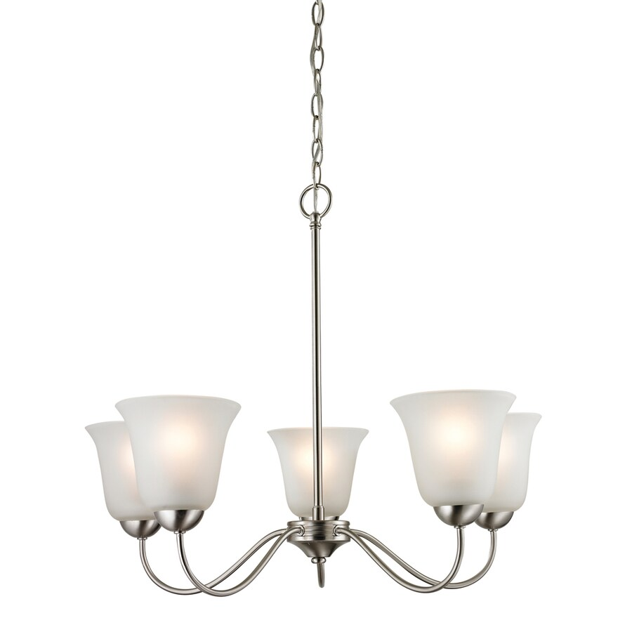 Westmore Lighting Ashland 22-in 5-Light Brushed nickel Tinted Glass Shaded Chandelier