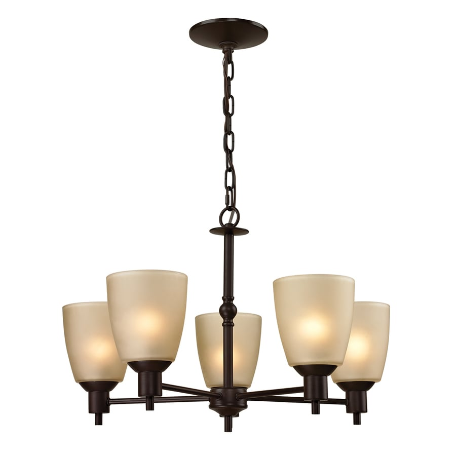 Westmore Lighting Fillmore 22-in 5-Light Oil-Rubbed Bronze Tinted Glass Shaded Chandelier
