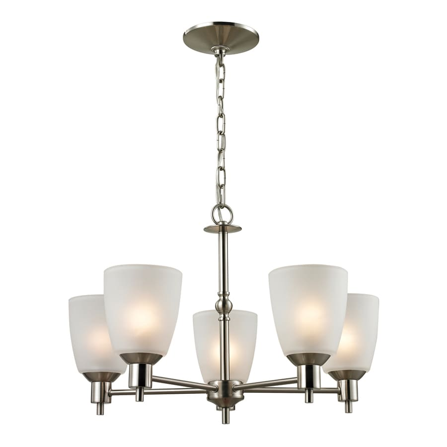 Westmore Lighting Fillmore 22-in 5-Light Brushed nickel Tinted Glass Shaded Chandelier