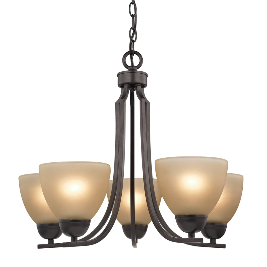 Westmore Lighting Rutherford 22-in 5-Light Oil-Rubbed Bronze Tinted Glass Shaded Chandelier
