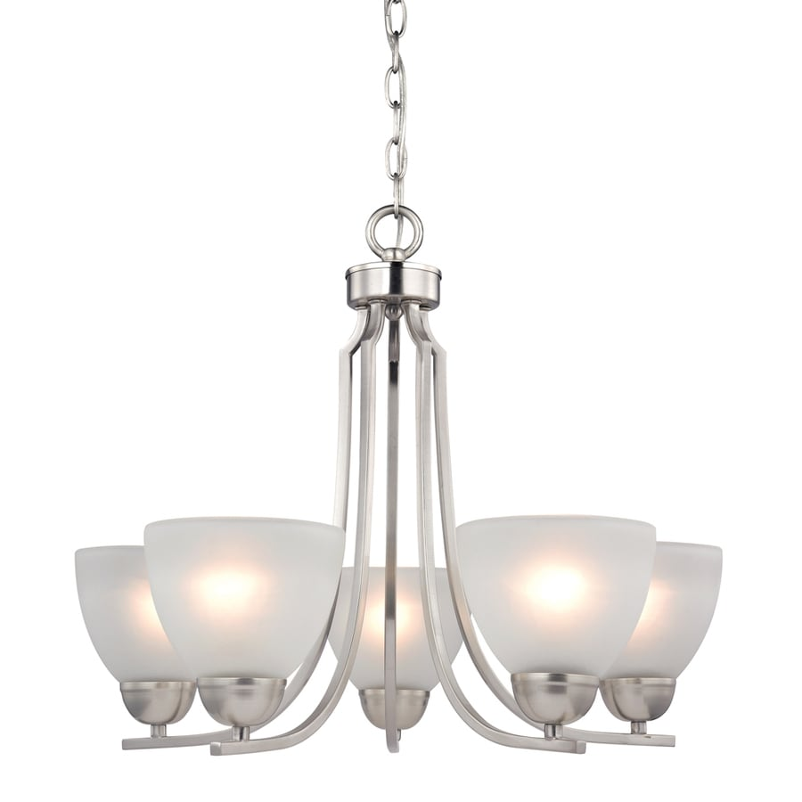 Westmore Lighting Rutherford 22-in 5-Light Brushed Nickel Tinted Glass Shaded Chandelier