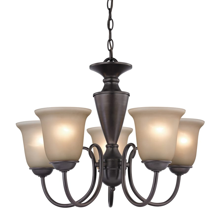 Westmore Lighting Bellwood 23-in 5-Light Oil-Rubbed Bronze Tinted Glass Shaded Chandelier