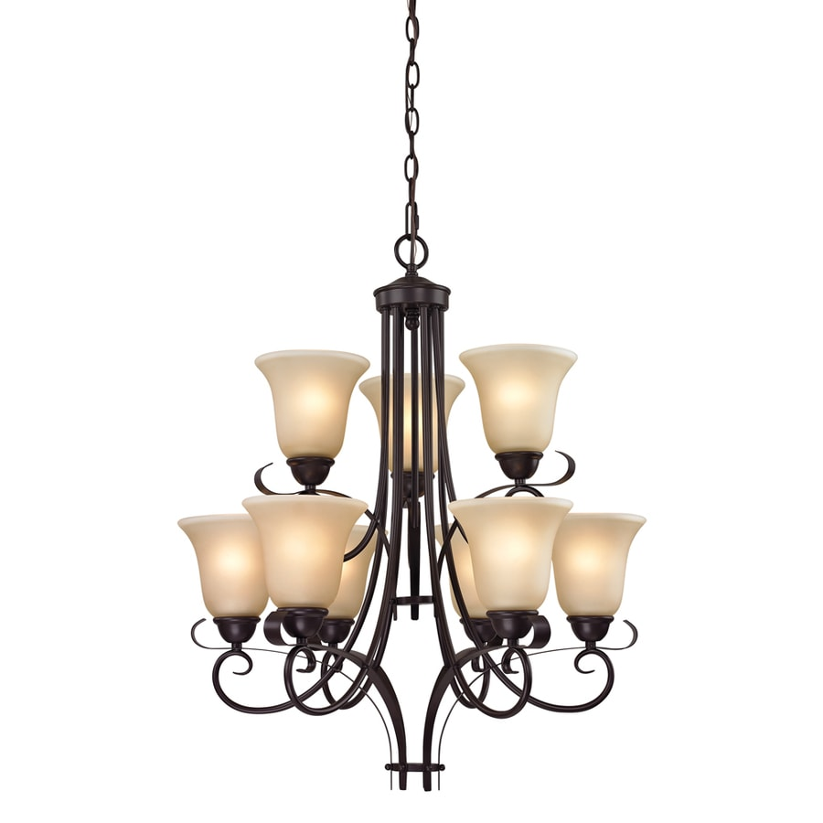 Westmore Lighting Colchester 23-in 9-Light Oil rubbed bronze Tinted Glass Shaded LED Chandelier