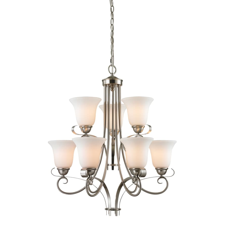 Westmore Lighting Colchester 23-in 9-Light Brushed Nickel Tinted Glass LED Chandelier