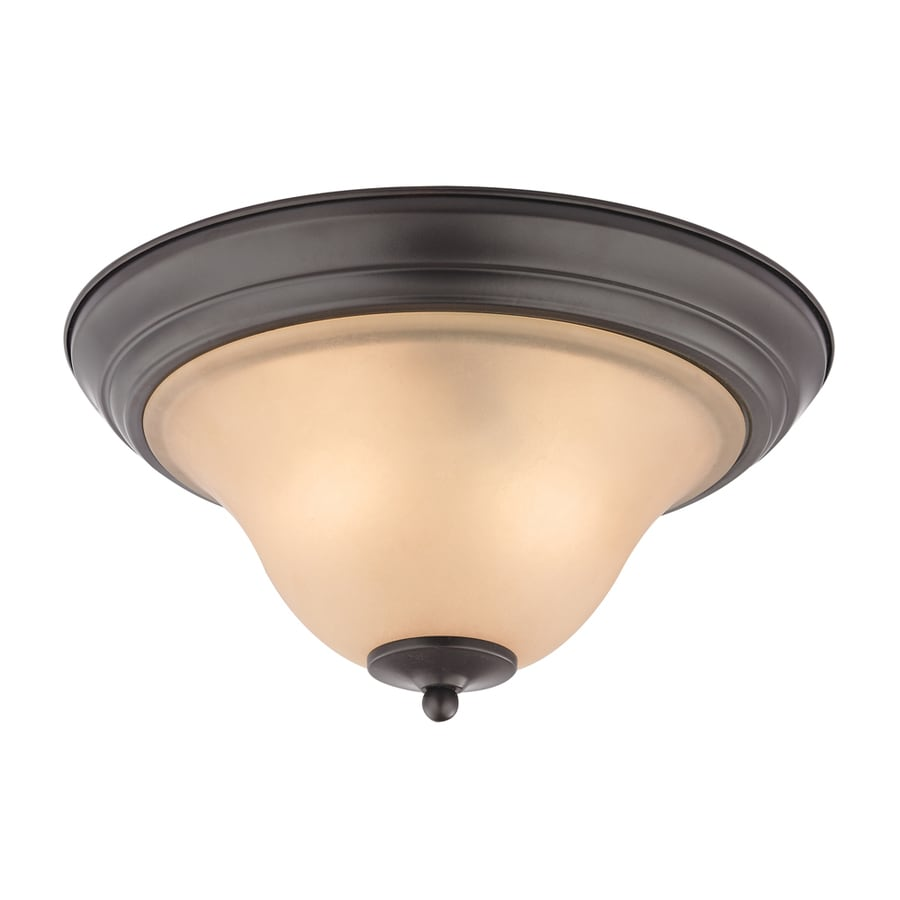 Westmore Lighting Rutherford 13-in W Oil Rubbed Bronze Integrated Flush Mount Light
