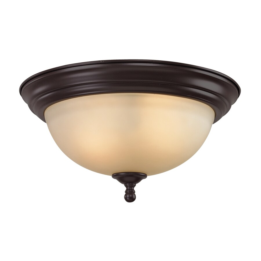 Westmore Lighting Sunbury 13-in W Oil rubbed bronze LED Flush Mount Light