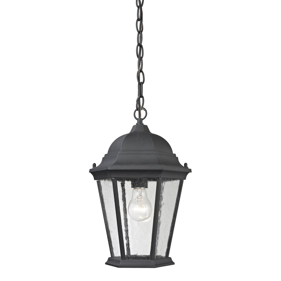 Westmore Lighting Fleming 14-in Matte Textured Black Outdoor Pendant Light