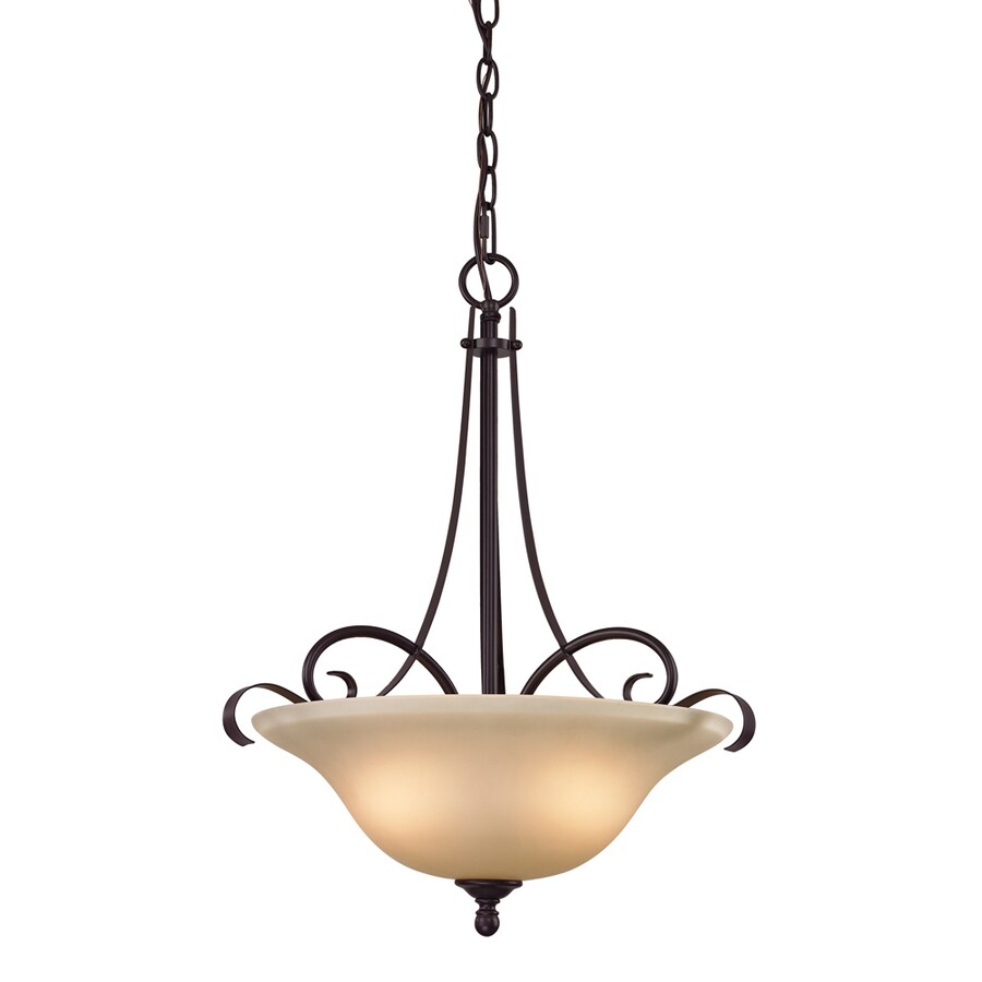Westmore Lighting Colchester 17-in Oil Rubbed Bronze Single Tinted Glass Bowl Pendant