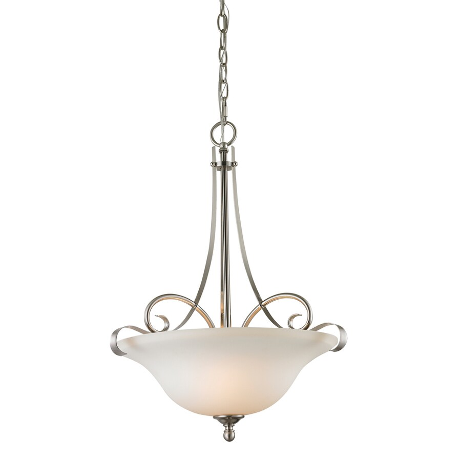 Westmore Lighting Colchester 17-in Brushed Nickel Single Tinted Glass Bowl Pendant
