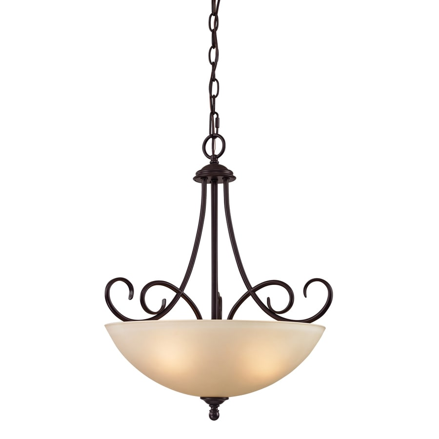 Westmore Lighting Sunbury 17-in Oil Rubbed Bronze Single Tinted Glass Bowl Pendant