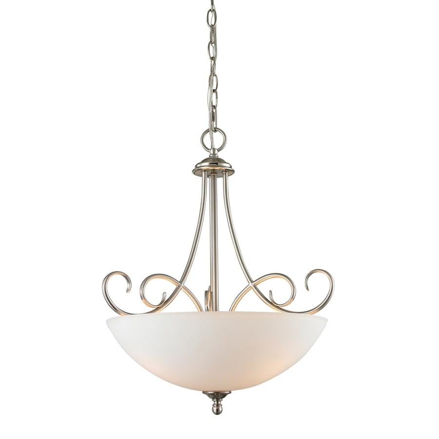 Westmore Lighting Sunbury 17-in Brushed Nickel Single Tinted Glass Bowl Pendant