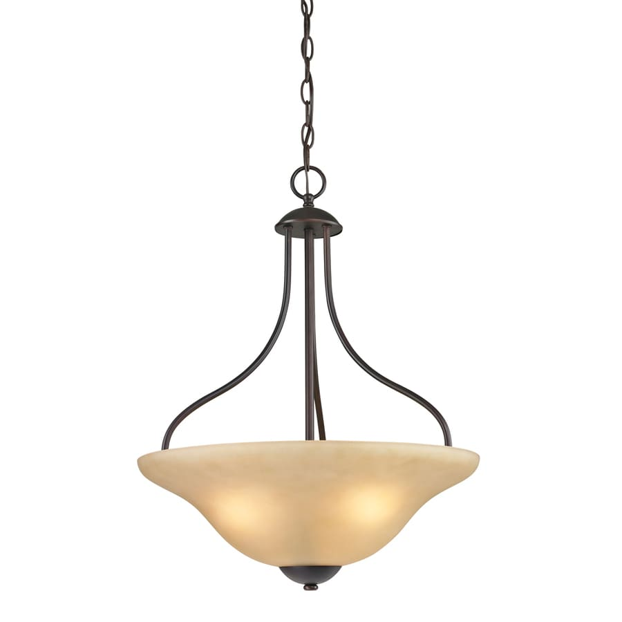 Westmore Lighting Ashland 17-in Oil Rubbed Bronze Single Tinted Glass Bowl Pendant
