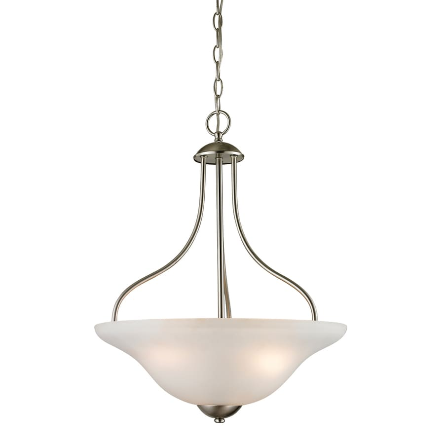 Westmore Lighting Ashland 17-in Brushed Nickel Single Tinted Glass Bowl Pendant